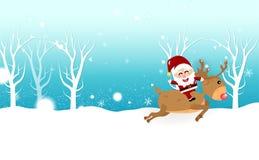 Il Natale, fumetto della renna di guida di Santa Claus, fiocchi di neve cade, insegna della carta di ferie dell'inverno, estratto illustrazione di stock