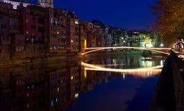 Il Natale getta un ponte su a Girona Fotografia Stock Libera da Diritti
