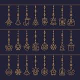Il Natale gioca la linea stabilita colore dell'oro di stile isolato su ciano fondo per il manifesto, vendita Immagine Stock Libera da Diritti