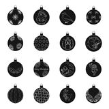 Il Natale gioca le icone nere nella raccolta dell'insieme per progettazione Illustrazione di web delle azione di simbolo di balls Immagini Stock
