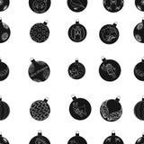 Il Natale gioca le icone nere nella raccolta dell'insieme per progettazione Illustrazione di web delle azione di simbolo di balls Fotografia Stock