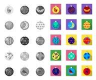 Il Natale gioca le mono, icone piane nella raccolta stabilita per progettazione Illustrazione di web delle azione di simbolo di v illustrazione di stock