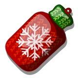 Il Natale gioca sotto forma di colore rosso e verde tricottato di lana della boccetta con il fiocco di neve isolato su fondo bian illustrazione vettoriale