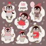 Il Natale ha messo con sei pinguini e fiocchi di neve svegli royalty illustrazione gratis