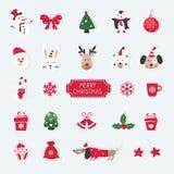 Il Natale ha messo degli animali, del obje svegli di Santa, del pupazzo di neve e di Natale Fotografia Stock Libera da Diritti