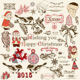 Il Natale ha messo degli elementi decorativi di vettore nello stile d'annata Fotografia Stock Libera da Diritti