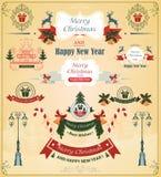 Il Natale ha messo degli elementi, nastri, per il vettore di progettazione illustrazione di stock