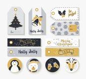 Il Natale ha messo delle etichette animali d'annata e delle etichette Immagini Stock