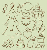 Il Natale ha messo gli elementi stilizzati disegnati a mano Fotografia Stock