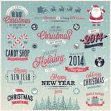 Il Natale ha messo - le etichette, gli emblemi e l'altro decorati Immagini Stock