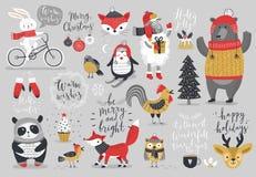 Il Natale ha messo, stile disegnato a mano - calligrafia, animali ed altri elementi Immagini Stock