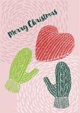 Il Natale ha tricottato i guanti e un cuore, la cartolina di Natale, Buon Natale desidera Immagini Stock Libere da Diritti