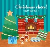 Il Natale incoraggia ed attributi Carta di regalo di Natale Saluti di nuovo anno Progettazione piana Vettore illustrazione di stock