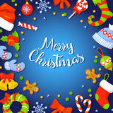 Il Natale incornicia con Holly Decoration Illustrazione di vettore festa insegna del manifesto della carta colorful illustrazione di stock