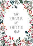 Il Natale incornicia con i rami decorativi, vischio Immagine Stock