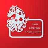 Il Natale incornicia con il cavallo decorativo Immagini Stock Libere da Diritti