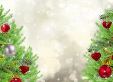 Il Natale incornicia con l'albero e la neve di abete Fotografie Stock