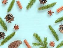Il Natale incornicia fatto dei rami di albero dell'abete, delle spezie, del pino e dei coni di abete Immagine Stock Libera da Diritti