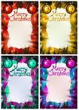 Il Natale incornicia sui rami del pino Cartolina d'auguri per natale Fotografie Stock Libere da Diritti