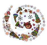 Il Natale magico si sviluppa a spirale Attributo del nuovo anno e di Natale illustrazione di stock