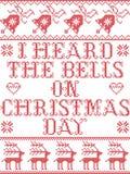 Il Natale mi modella ha sentito le campane sul modello senza cuciture scandinavo del canto natalizio di giorno di Natale ispirato royalty illustrazione gratis