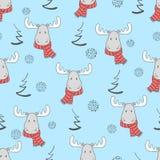 Il Natale modella con gli alci svegli del fumetto illustrazione di stock