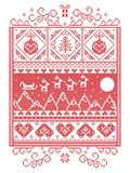 Il Natale modella con gli elementi senza cuciture in rosso ed in bianco illustrazione di stock
