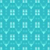 Il Natale modella con i cervi, il fiocco di neve ed il presente Fotografia Stock