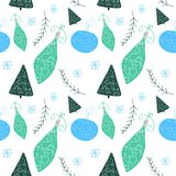 Il Natale modella con l'albero di Natale e lo stile sveglio disegnato delle palle a disposizione royalty illustrazione gratis
