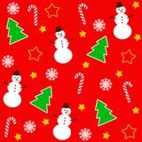 Il Natale modella con l'albero ed il pupazzo di neve Fotografia Stock Libera da Diritti