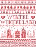 Il Natale modella con il modello senza cuciture del villaggio del paese delle meraviglie dell'inverno ispirato entro l'inverno fe illustrazione di stock