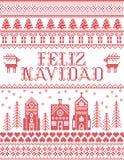 Il Natale modella con il modello senza cuciture di Feliz Navidad del villaggio del paese delle meraviglie dell'inverno ispirato e royalty illustrazione gratis