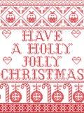 Il Natale modella fa un modello senza cuciture di Holly Jolly Christmas ispirare entro l'inverno festivo della cultura nordica in illustrazione vettoriale