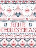 Il Natale modella il modello senza cuciture della canzone di Natale blu ispirato entro l'inverno festivo della cultura nordica in royalty illustrazione gratis