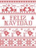 Il Natale modella il modello senza cuciture di Feliz Navidad dello Spagnolo ispirato entro l'inverno festivo della cultura nordic illustrazione di stock