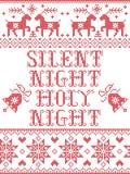 Il Natale modella il modello senza cuciture di notte santa silenziosa di notte ispirato entro l'inverno festivo della cultura nor illustrazione di stock