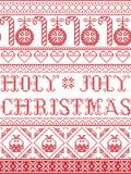 Il Natale modella il modello senza cuciture santo di Joly Christmas ispirato entro l'inverno festivo della cultura nordica in pun illustrazione di stock