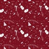 Il Natale modella nel colore rosso scuro con gli elementi di scarabocchio illustrazione di stock
