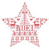 Il Natale modella nella forma della stella con la parola di Noel ispirata entro l'inverno festivo della cultura nordica in punto  royalty illustrazione gratis