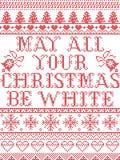 Il Natale modella può tutti i vostri chritmas essere modello senza cuciture del canto natalizio bianco ispirato entro l'inverno f illustrazione di stock