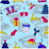 Il Natale modella su un blu Camera, cervo, Natale t Fotografie Stock