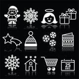 Il Natale, natale celebra le icone bianche messe sul nero Immagini Stock