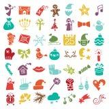 Il Natale, nuovo anno ha colorato l'insieme della siluetta delle icone royalty illustrazione gratis