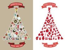 Il Natale, nuovo anno scarabocchia nella forma dell'albero dello spurce Immagini Stock Libere da Diritti