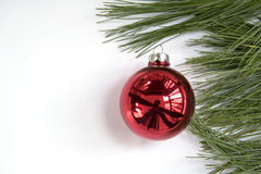 Il Natale orna con il ramo del pino Immagini Stock Libere da Diritti