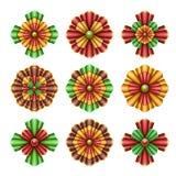 Il Natale orna gli elementi, piega il clipart, illustrazione isolata fiori astratti Fotografia Stock Libera da Diritti