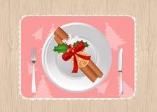 Il Natale placca decora Fotografia Stock Libera da Diritti