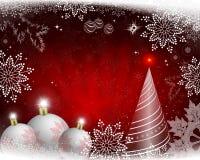 Il Natale progetta con i raggi di luce, delle palle bianche, dell'albero di Natale astratto e dei fiocchi di neve splendidi illustrazione di stock