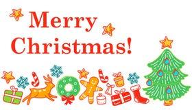 Il Natale progetta l'elemento negli oggetti e nei simboli di stile di scarabocchio sul tema del nuovo anno illustrazione di stock