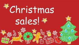 Il Natale progetta l'elemento negli oggetti e nei simboli di stile di scarabocchio sul tema del nuovo anno royalty illustrazione gratis